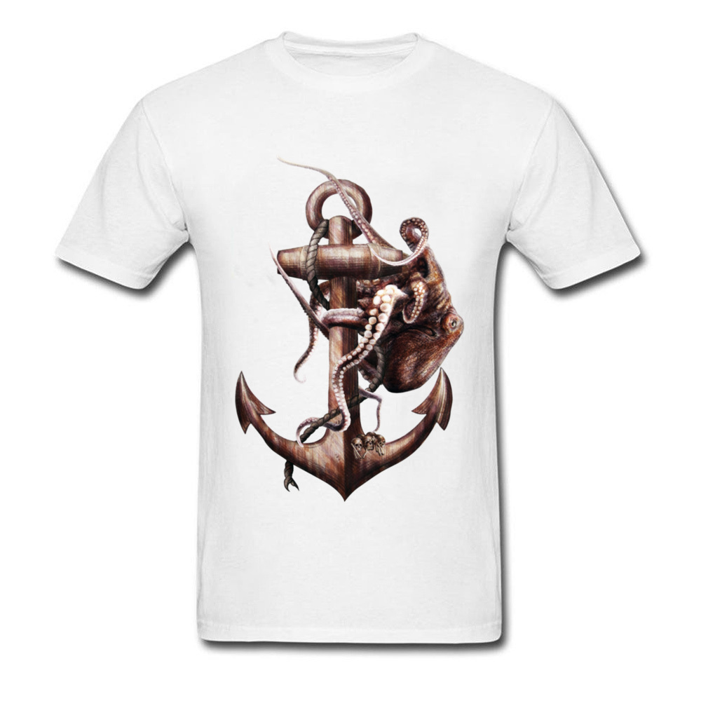 Give Life Back To The Sea 2018 Men T-shirt Punk Octopus Painting Cool White T Shirt Cartoon Skull Vintage Top Tee
