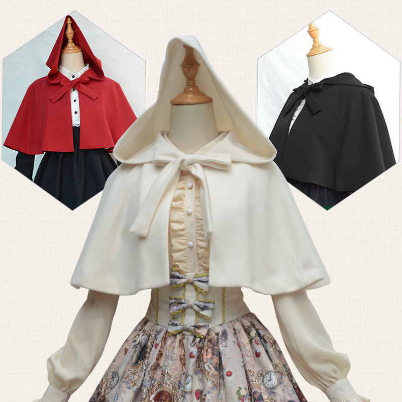 Lolita Girls Little Red Hat Style Short Cape Hooded Lolita -5762