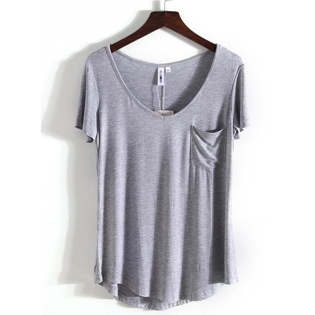 4 Colors Fashion All Match V Neck Short Sleeve T Shirts