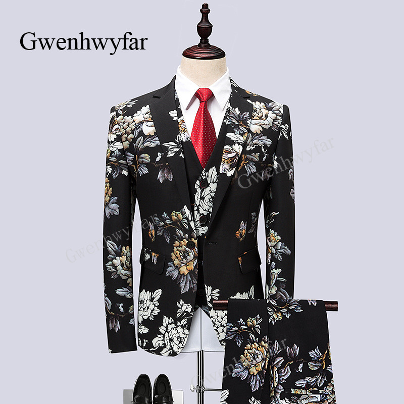 Erkek Kıyafeti'ten T. Elbise'de Gwenhayfar erkek Rahat Butik Çiçek Baskılı Takım Elbise Siyah Moda Şarkıcı Sahne Gösterisi Smokin Setleri 3 Parça Mne'nin Parti smokin'da  Grup 1