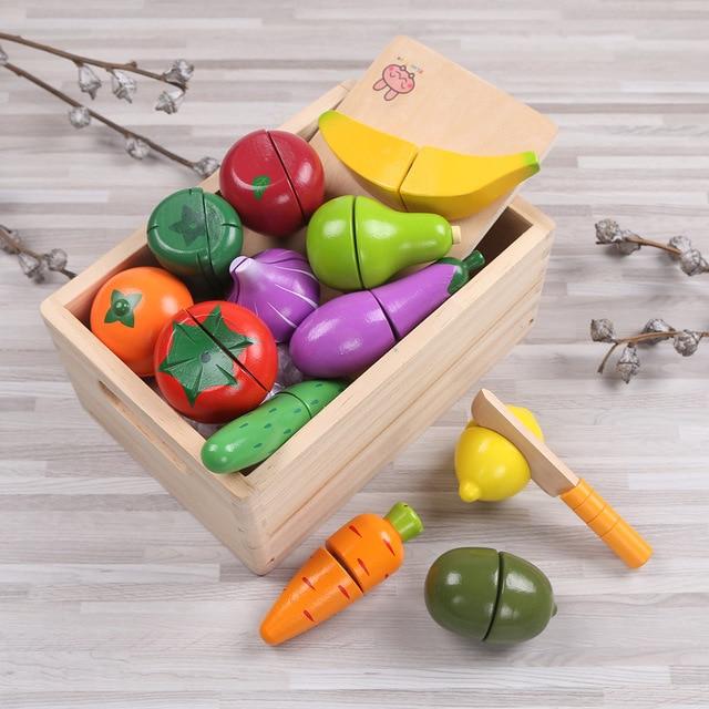 Bambino Giocattoli Di Cucina In Legno di Taglio Frutta Verdura ...