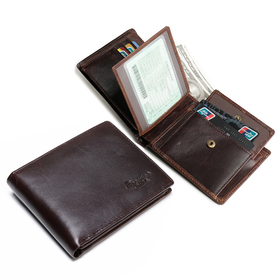 Quality Classical Men's Wallets Genuine Leather Business Casual Driver License Card Bit ID Crad Holder Coin Change Pocket Wallet never leather badge holder business card holder neck lanyards for id cards waterproof antimagnetic card sets school supplies