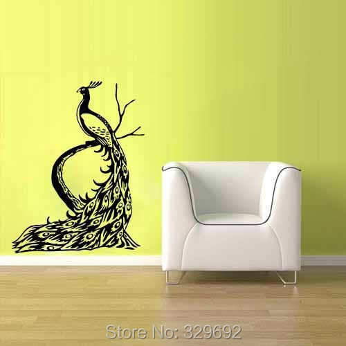 free shipping peacock bird wall vinyl stickers decals home decor art bedroom design mural - Wall Vinyl Designs