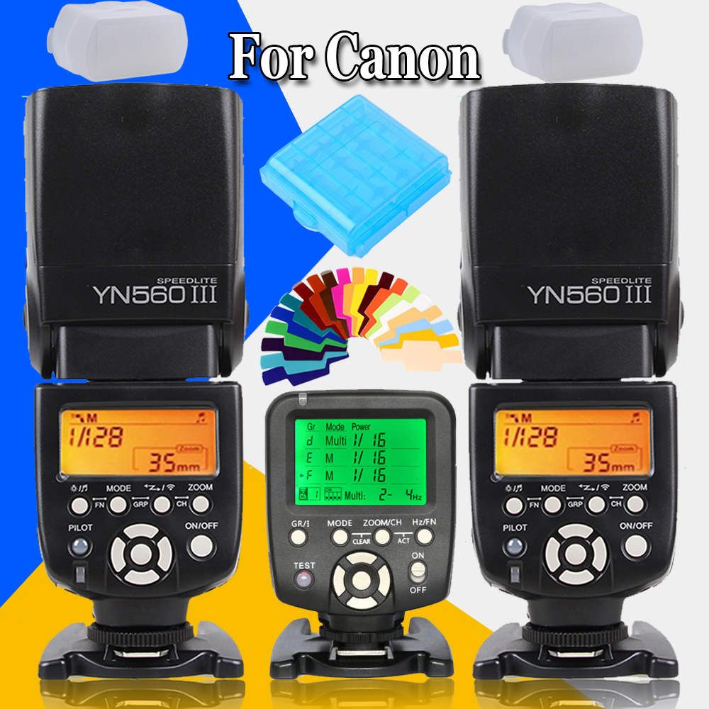 2 x YONGNUO YN-560 III YN560III Wireless Slave Flash Speedlite YN560 III Speedlight+YN560-TX YN560TX Flash Controller For Canon