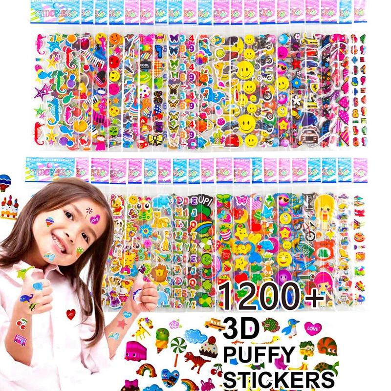 Kids Stickers 1200+, 40 Different Sheets 3D Puffy Bulk Stickers For Girl Boy Birthday Gift Scrapbooking Teachers Animals Cartoon