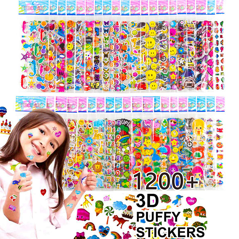 Kids Stickers 40 Different Sheets 3D Puffy Bulk Stickers For Girl Boy Birthday Gift Scrapbooking Teachers Animals Cartoon