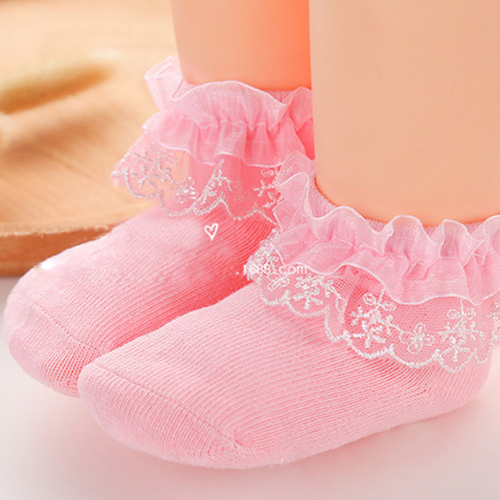 Toddler Baby Kids Girls Comfortable Lace Cute Cotton Sock Slippers Ankle Socks