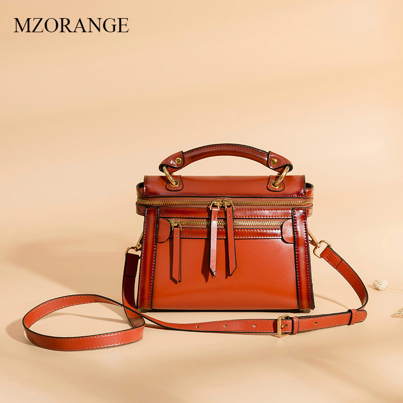 MZORANGE Flap Women Bag Genuine Leather Luxury Handbags Lady Designer Vintage Crossbody Bags Fashion Shoulder Messenger Bag new women genuine leather handbags shoulder messenger bag fashion flap bags women first layer of leather crossbody bags