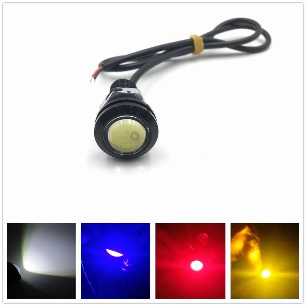 XYIVYG 1pc 9W 12V 18MM LED Eagle Eye Light Car Fog DRL Daytime Reverse Parking Signal Yellow Amber Blue White Red Pink Purple