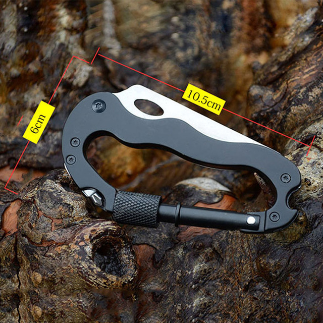 Pocket Multi Tool 5 in 1 Aluminum Knife Screwdriver Carabiner Buckle Lock Outdoor Sports Camping Tactical Self-defense Gear