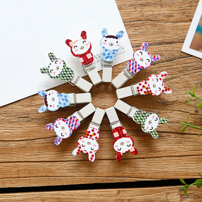 10 Pcs/pack Rabbit Wooden Clips Cute Diy Paper Photo Postcard Craft Decorative Lovely Mini Wood Clip With Hemp Rope Kawaii Gifts To Reduce Body Weight And Prolong Life Clips