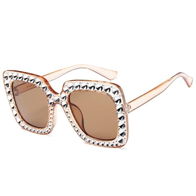 Oversize sunglasses Top Rhinestone Luxury Brand Designer Sunglasses for Women Square Shades Women Fashion Retro Sunglasses