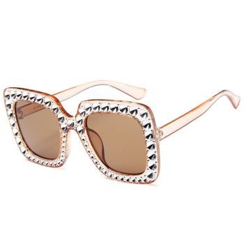 Oversize sunglasses Top Rhinestone Luxury Brand Designer Sunglasses for Women Square Shades Women Fashion Retro Sunglasses