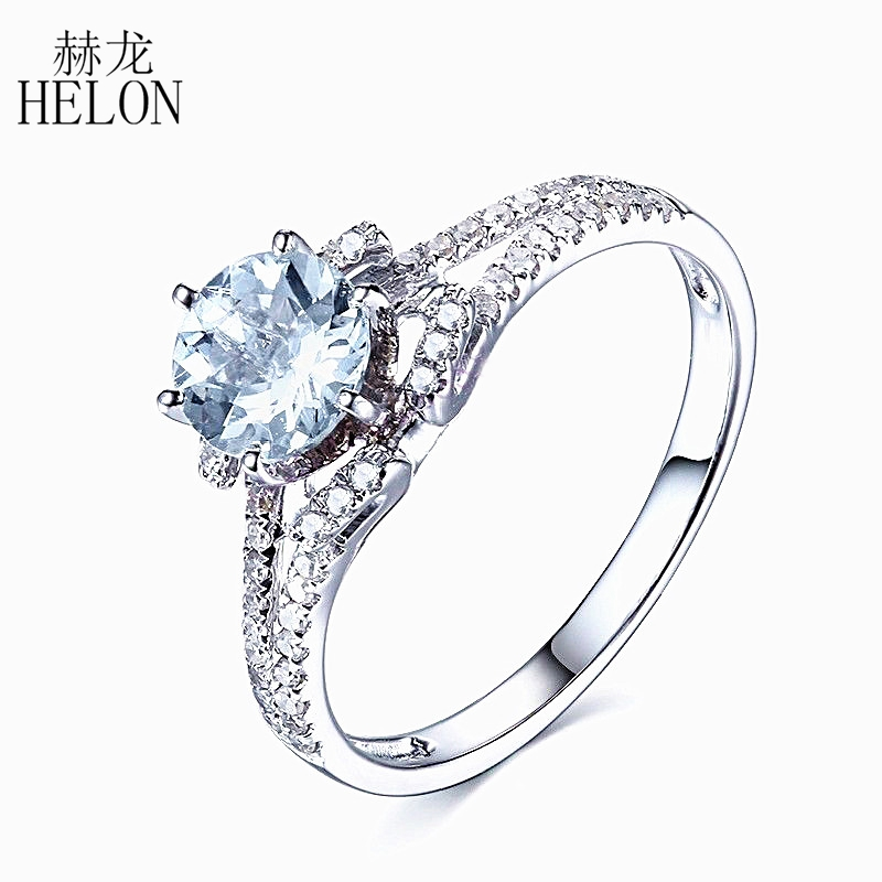HELON 6.5mm Round Cut Natural Aquamarine Solid 14K White Gold Real Natural Diamonds Ring Engagement Wedding Gemstone Fine Ring