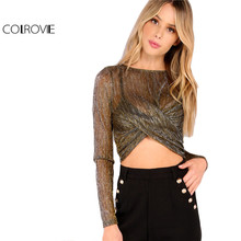 COLROVIE Women Metallic Brown Mesh Sheer Top Twist Front Blouse Shirt Women Sexy Summer Crop Top Long Sleeve Fashion Blouse(China)