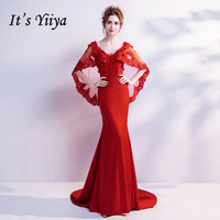 It's Yiiya V Neck Luxury Evening Dresses Mermaid Bling Sequined Crystal Famous Designer Party Formal Dress LX263
