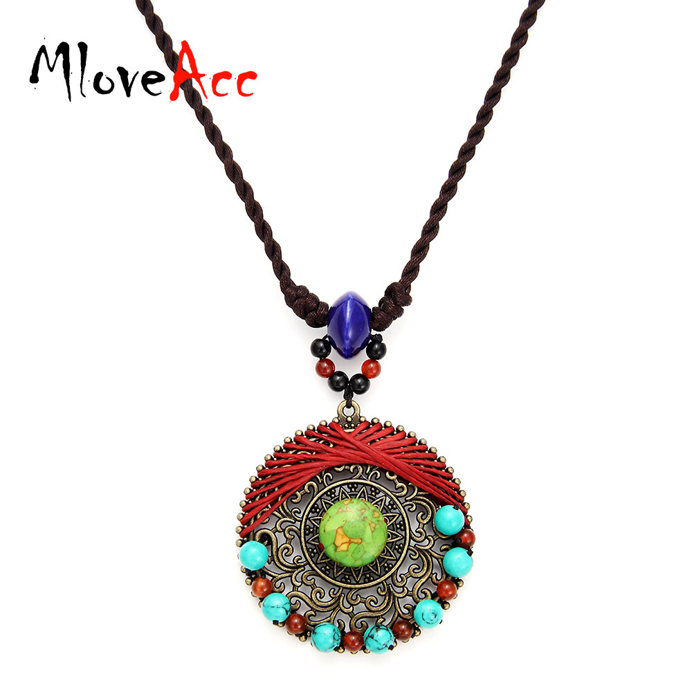 MloveAcc Bohemian Style Round Metal Pendant Necklace for Women Handmade Natural Stone Beads Braided Necklace for Women Jewelry