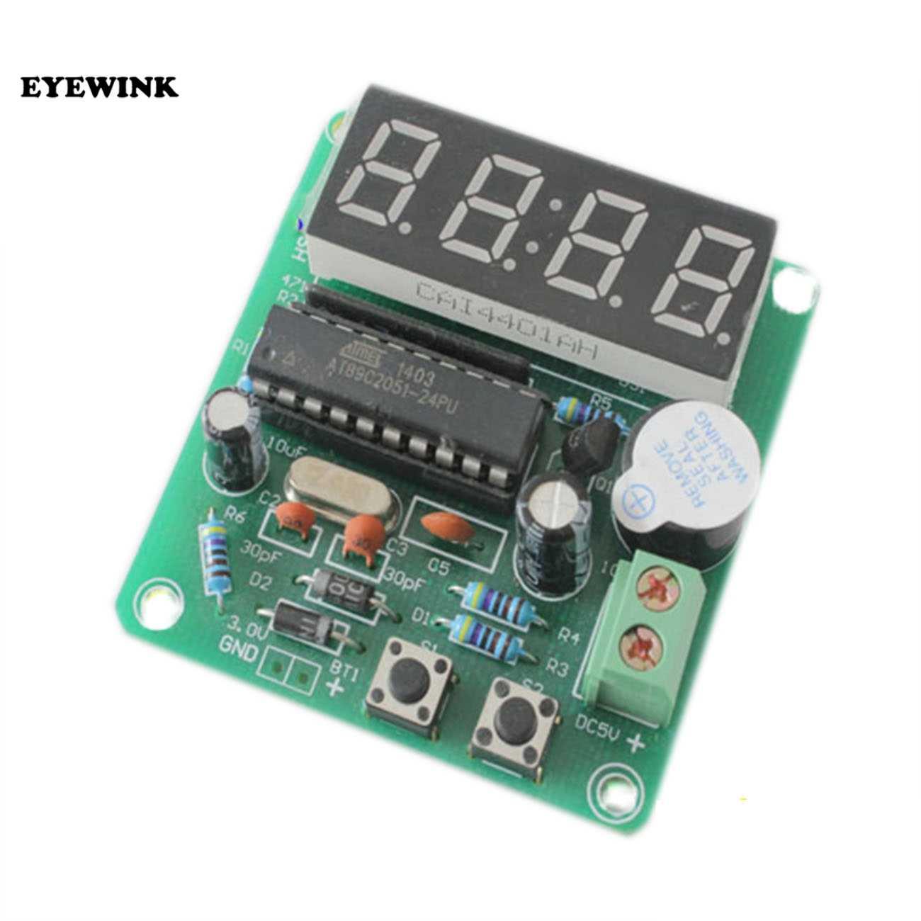 AT89C2051 Kỹ Thuật Số LED Hiển Thị 4 Bits Điện Tử Đồng Hồ Điện Tử Sản Xuất Bộ TỰ LÀM Kit 0.56 Inch Màu Đỏ Hai Báo Động