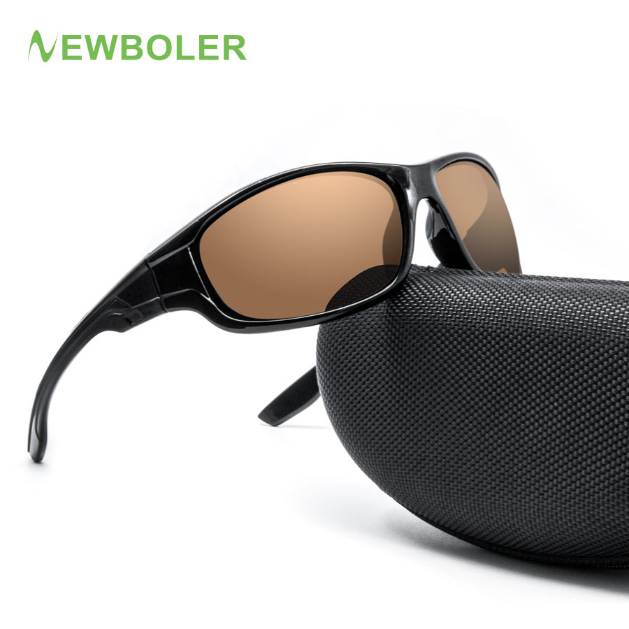 цена на NEWBOLER 2018 Fishing Eyewear Polarized Yellow Brown Lenses Men Women Fishing Glasses driving Night Sport Sunglasses UV400