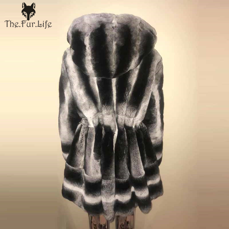 Luxury 100% Real Chinchilla Rex Rabbit Fur Coat With Hood Slim Thick Warm Winter Fur Jackets For Ladies Hot Sale For Women