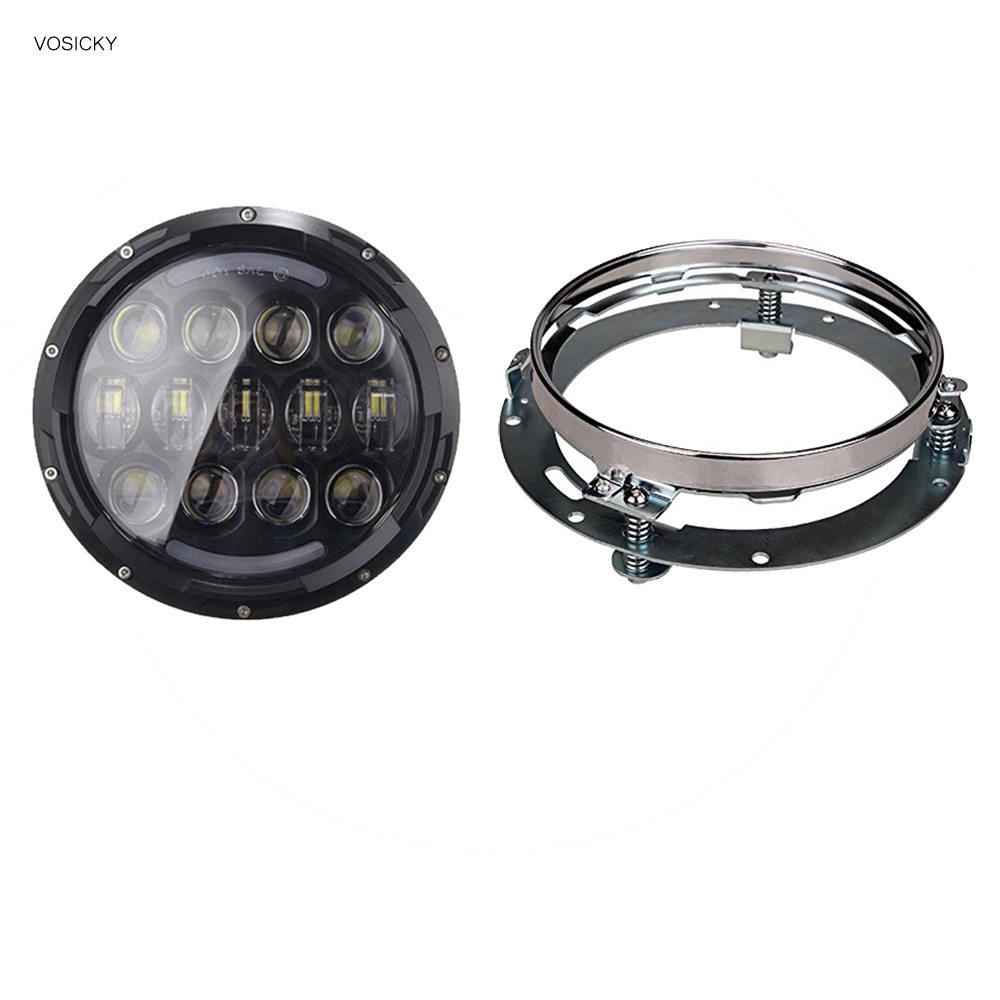 7 inch LED Headlight Motorcycle DRL high-low beam 78w Super Bright For harley with 7 inch Bracket ring mounting so k 4x p15d px15d t19 p15d 25 1 h6m 50w high power cree super bright motorcycle moto led headlight driving lamp drl white
