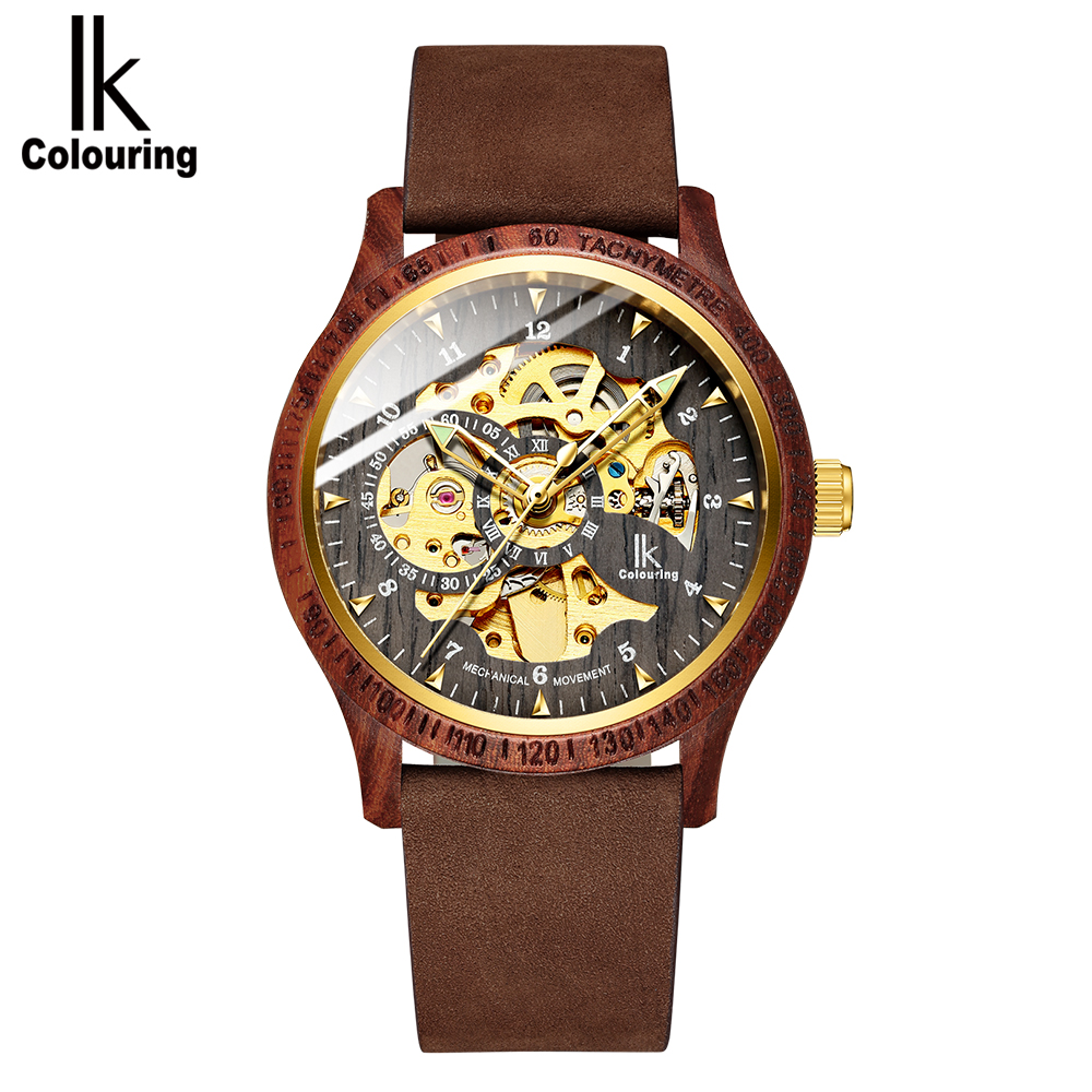 IK Colouring 2018 Men Watch Luxury Golden Skeleton Mechanical Movt Wooden Case Leather Strap Auto Male Wristwatch Drop Shipping oulm movt drop