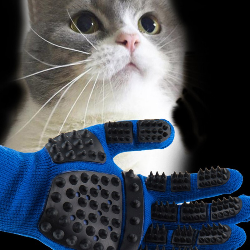 Set of Pet Grooming Gloves for Animal Hair Removal for Dogs and Cats Made of Synthetic Fiber with Soft Tips Useful for Cleaning of Pets 1
