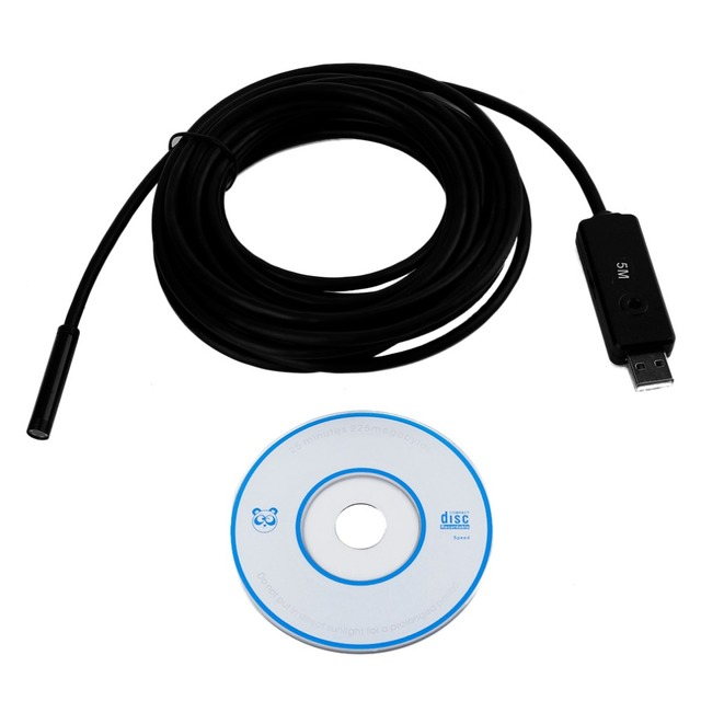 Camera Waterproof 5m Mini USB Endoscope Inspection Camera 6 White LEDs 1/9 CMOS 7mm Lens Borescope Snake Tube Camera with P2P
