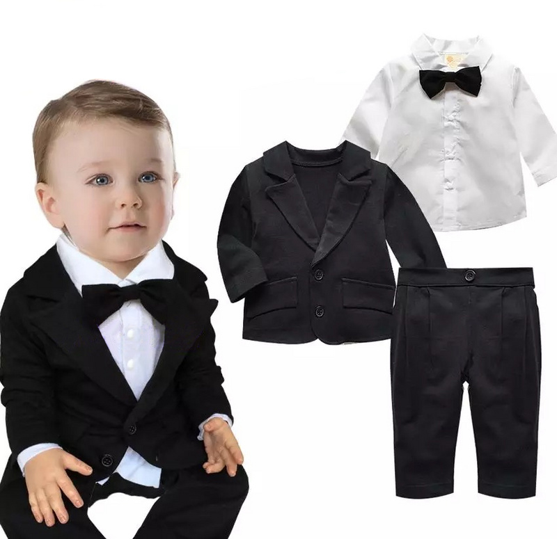 2015 new baby boy clothes gentleman baby clothing set shirt with tie+ coat+pant newborn baby clothes gentleman baby boy clothes black coat striped rompers clothing set button necktie suit newborn wedding suits cl0008