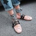 2017 Весна балетки крест связали Корейский стиль пряжка ремень круглый носок бабочкой балетки мокасин обувь женщина плюс размер 48