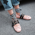 2017 Spring ballet flats cross-tied Korean style buckle strap round toe bow-tie ballerinas mocassin shoes woman plus size 48