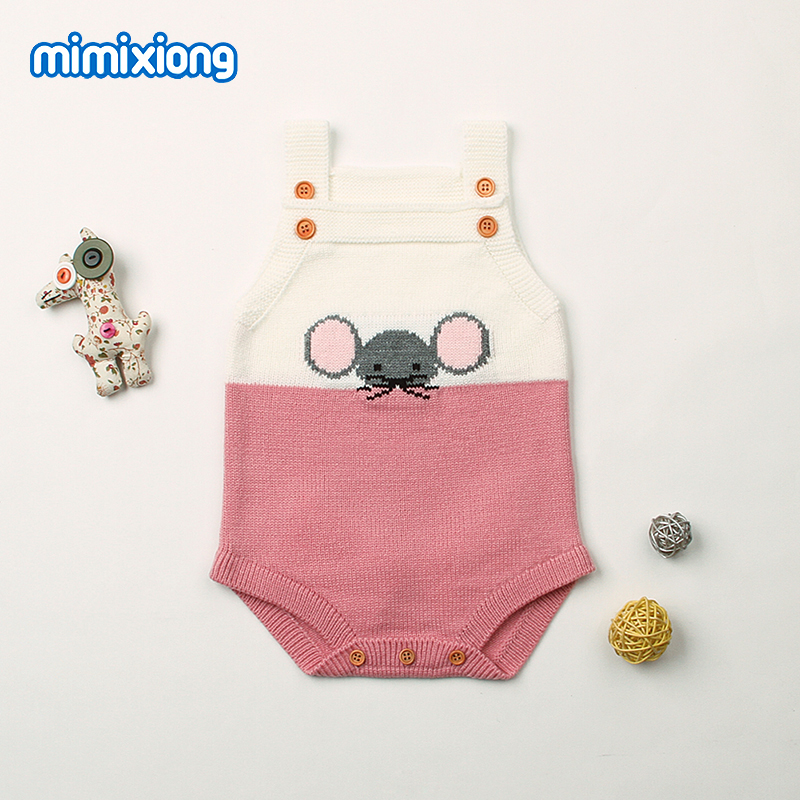 Baby Girls Summer Clothes Adorable Mouse Knitted Newborns Boys Bodysuits Toddler Infant One Piece Overalls Children Costume Soft