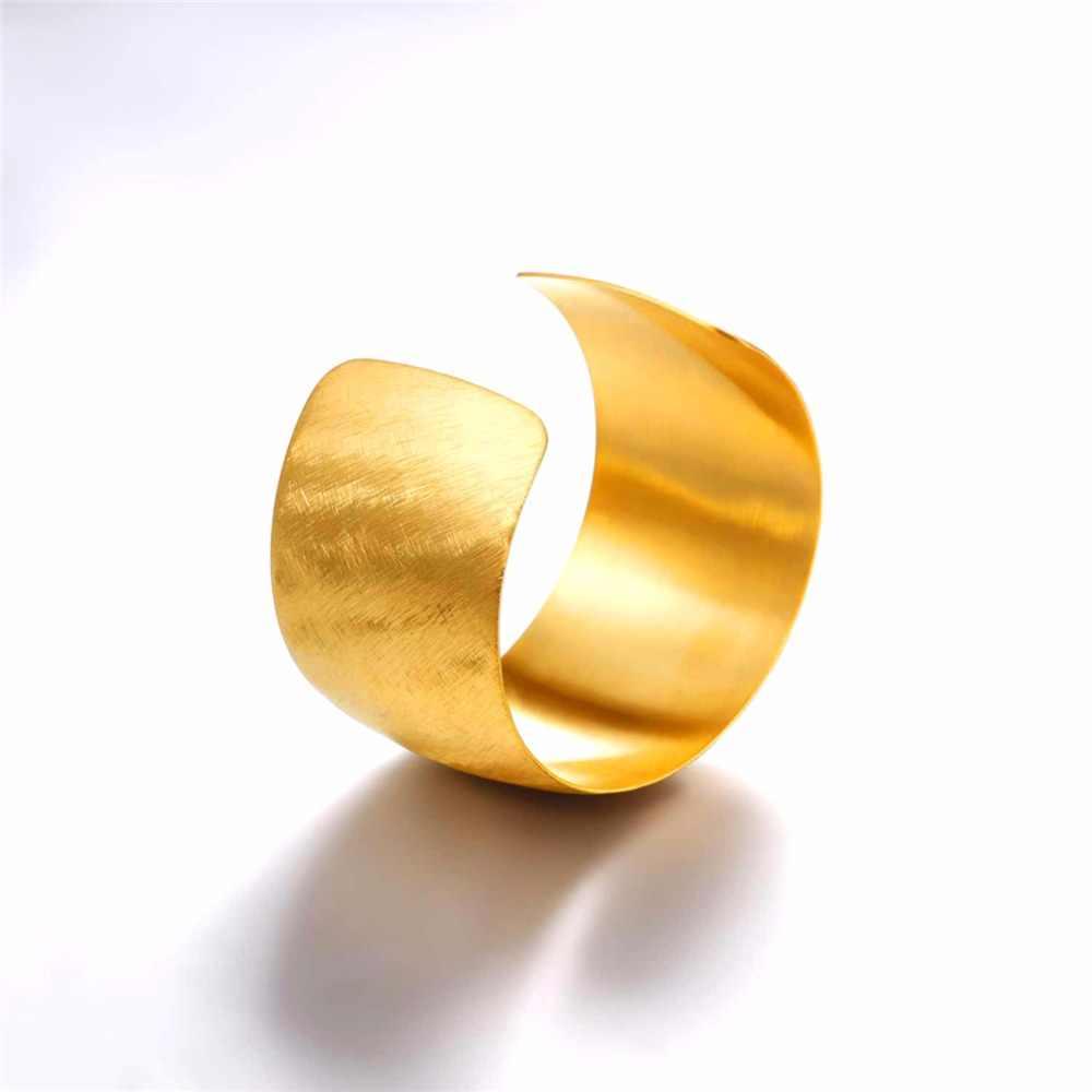 U7 bransoletka ze stali nierdzewnej gładki pasek szeroki mankiet Bangle regulowany złoty/czarny kolorowy prezent dla kobiet/mężczyzn biżuteria bransoletki H1042