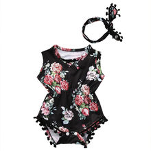 Toddler Ifantil Newborn Baby Girls Floral Cute Romper One-pieces Sunsuit+Headband Cotton Blend Clothes Set