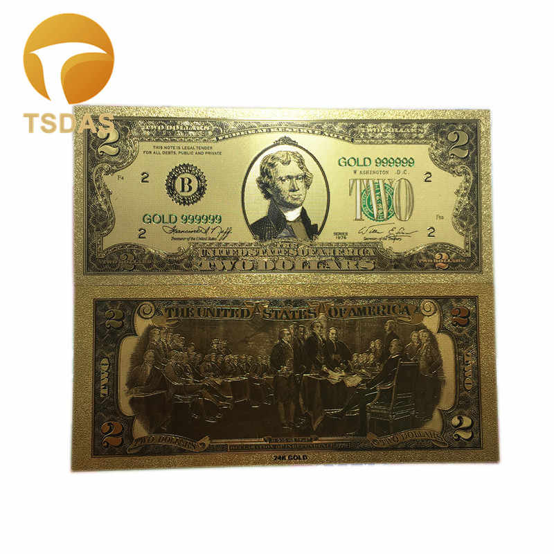 American 2 Dollar USA Bank Notes Bill Gold Foil Banknote as Craft Gifts