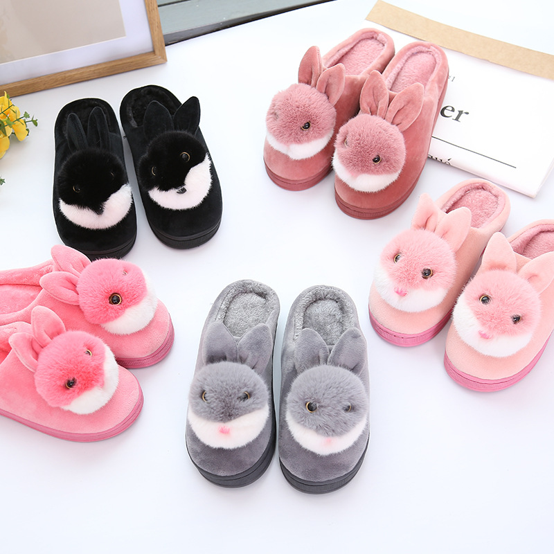 Female Shoes Sandals Flip-Flops Soft Slippers Floor Rabbit Winter Fashion Cute Home Girls