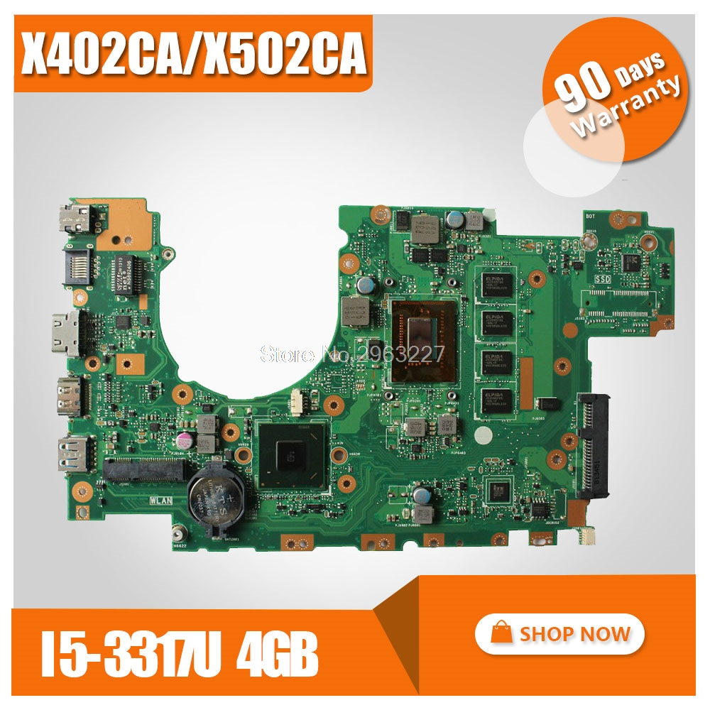 Laptop Motherboard For ASUS X502CA X402CA REV2.1 With i5-3317u 4GB memory on board Mainboard 60NB00I0-MB5080 100% tested original for asus x502ca laptop motherboard x402ca rev2 1 1007u cpu 4gb mainboard tested well