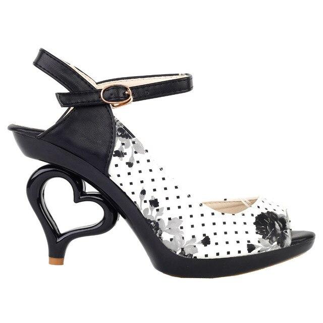 9719c977c11b5 LF60809 Sexy Black White Flower Bride Wedding Heart Heels Sandals Size 4 5 6