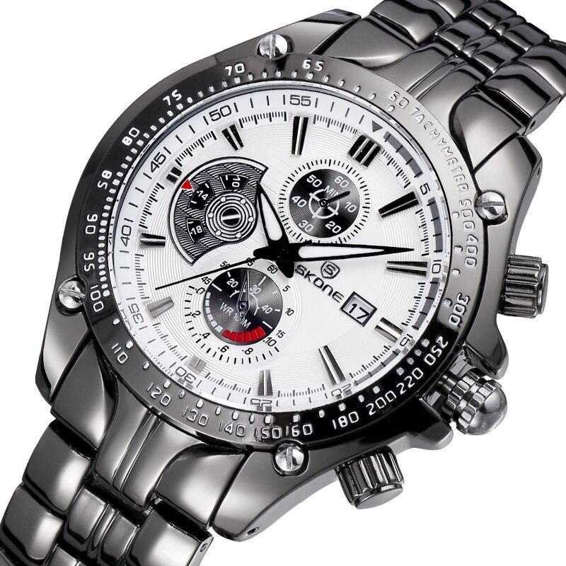 SKONE Luxury Brand Date Watch Men Luminous Fashion Military Sports Watch Quartz Business Casual Stainless Steel Wristwatch все цены
