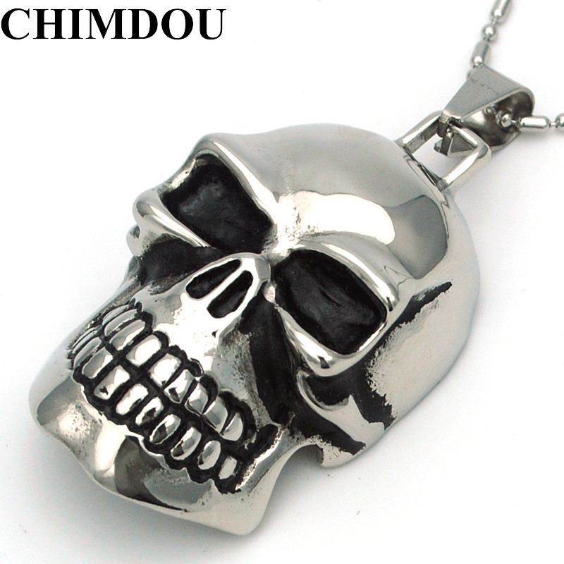 CHIMDOU  316L Stainless Steel Pendant Necklace Men Big Skull Head - Fashion Jewelry