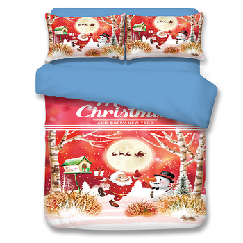 New Merry Christmas Gift Kids Duvet Beddding Twin Queen Size  Santa Claus Snowman Children Bedding Sheet For Christmas Gifts