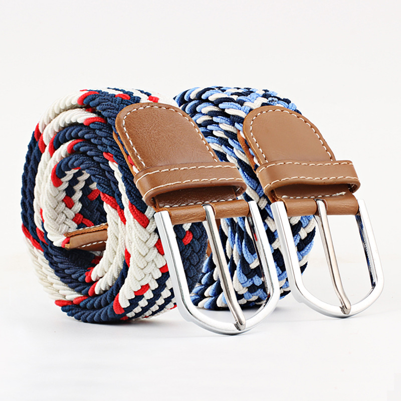 New Fashionable Wide Belt For Men Women Elastic Knitted Braid Jeans Dress with Leather Metal Buckle Casual for Unisex
