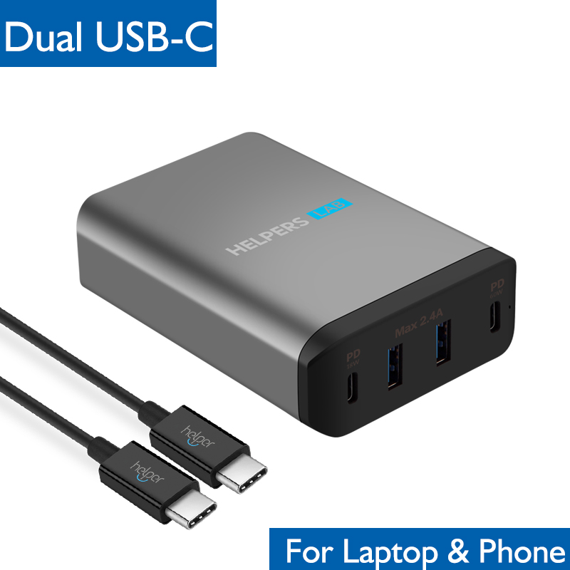 Dual Type-C PD Travel Charger Adapter with 2 USB-C PD & 2 USB 5V 2.4A - Compatible with Macbook iPad Xiao Mi air pro MatebookDual Type-C PD Travel Charger Adapter with 2 USB-C PD & 2 USB 5V 2.4A - Compatible with Macbook iPad Xiao Mi air pro Matebook