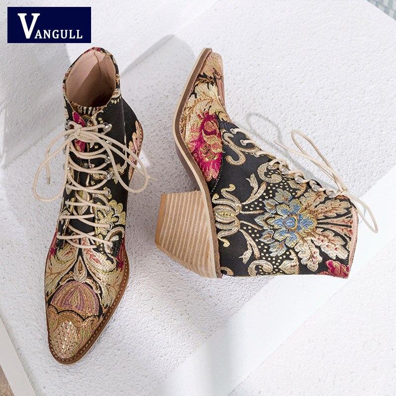 2018 Новый Для женщин Роскошные шелковые сапоги полусапожки «Martin» Новый осень-зима вышивать женские мотоботы на шнуровке женская обувь