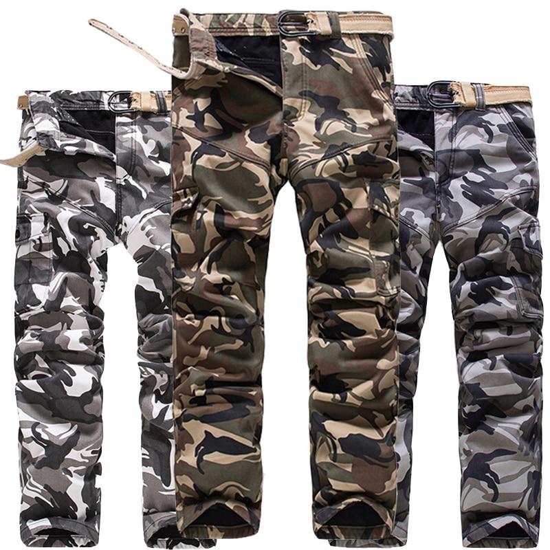 Multi Poche Chaud Épais D'hiver Pantalon Cargo Hommes Camouflage Polaire Doublé Camo Pantalon Plus La Taille 40 Armée Vert de Neige Blanc