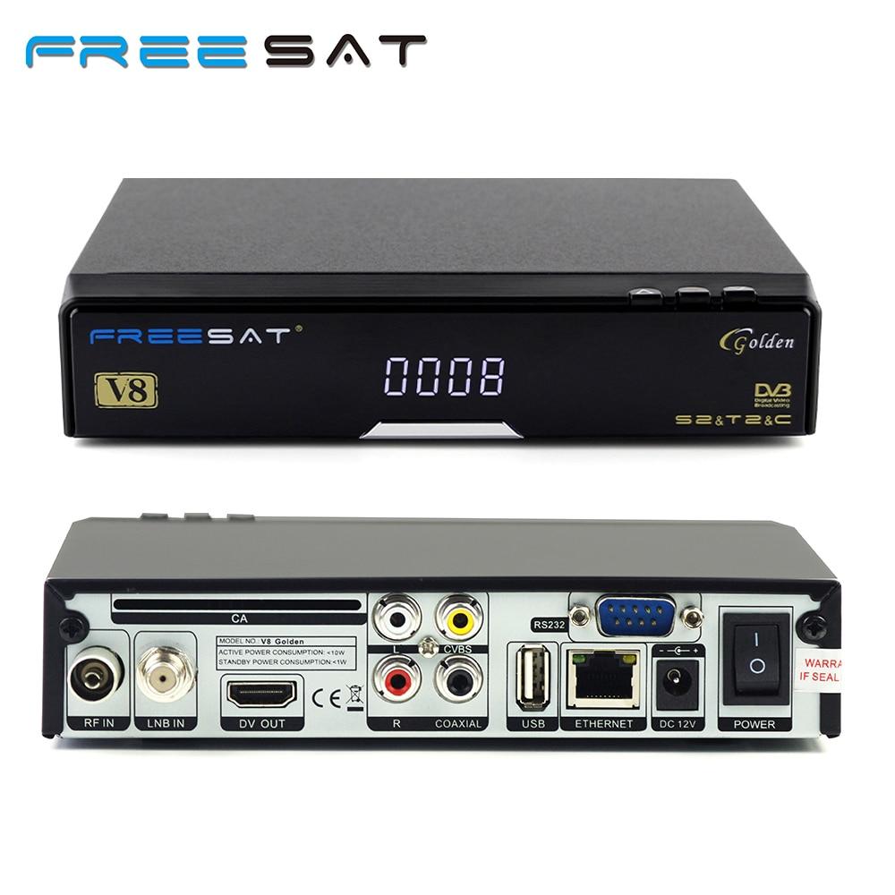 Genuine FREESAT V8 Golden & USB Wifi DVB-S2 + T2 +C Satellite TV Combo Receiver Support PowerVu Biss Key Cccamd Newcamd USB Wifi цены онлайн