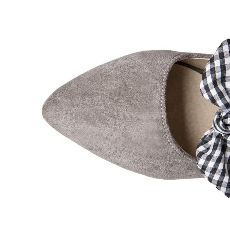 Razamaza Bout Haute Les Femmes gris Bowtie Mode Taille 32 Slip marron 43 Couleur Pointu Sur Souple Solide Plates Appartements Chaussures Noir Casual rSar4