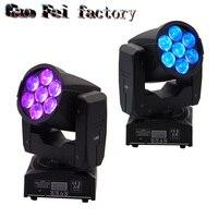 2pcs/lot 7x12W Mini Bee Eye Led Moving Head Zoom Light RGBW 4IN1 Lamp