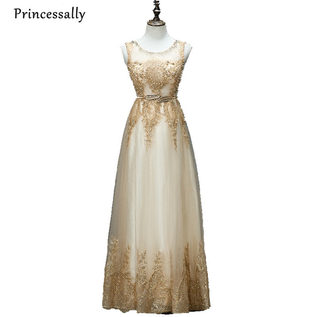 Champagne Gold Bridesmaid Dress Sequined Long Pearl Formal Gown Prom ...