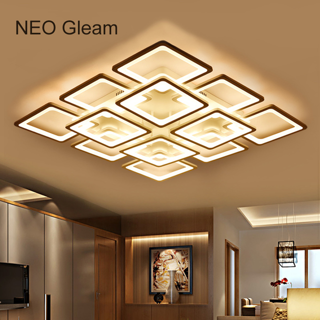 NEO Gleam Rectangle Modern Led Ceiling Chandelier Lights For Living Room  Bedroom AC85 265V Square Ceiling Chandelier Fixtures